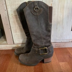 Brown leather buckle boots